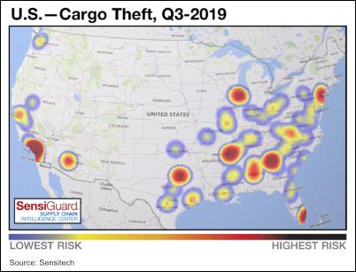 Map: U.S. Cargo Theft, Q3 2019