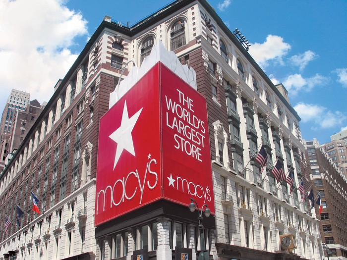 The exterior of the Macy's Herald Square flagshpi store