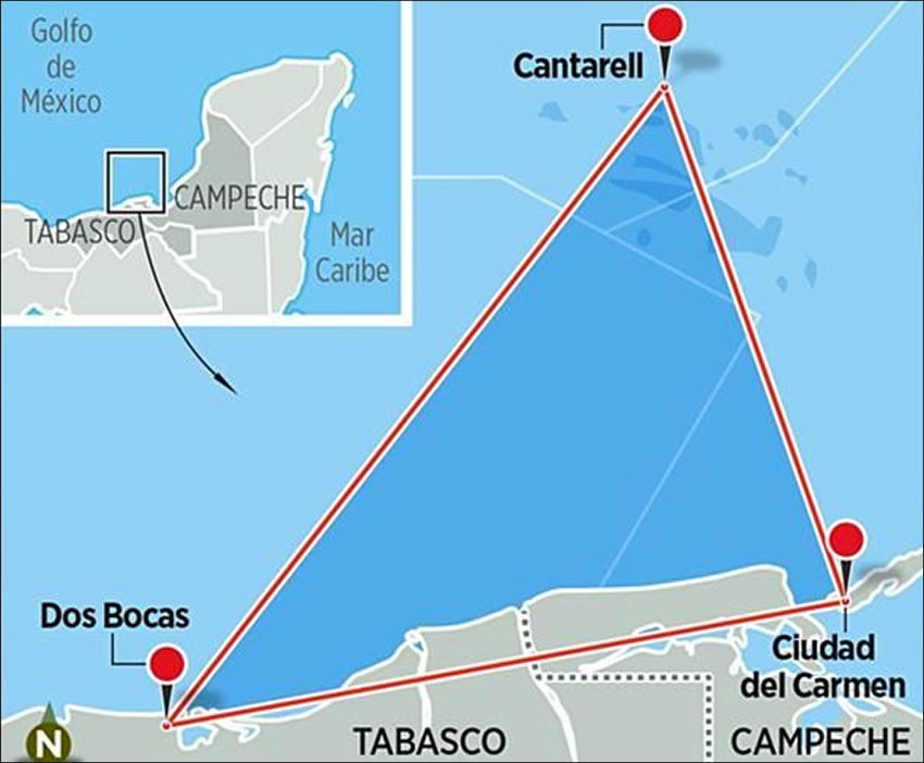 High-risk area for piracy, a triangle whose points are formed by the Cantarell oil field, Dos Bocas and Ciudad del Carmen.