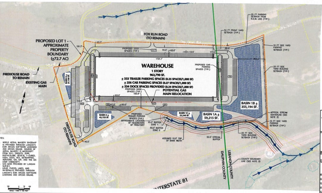 A plan for a proposed warehouse in East Hanover Township.