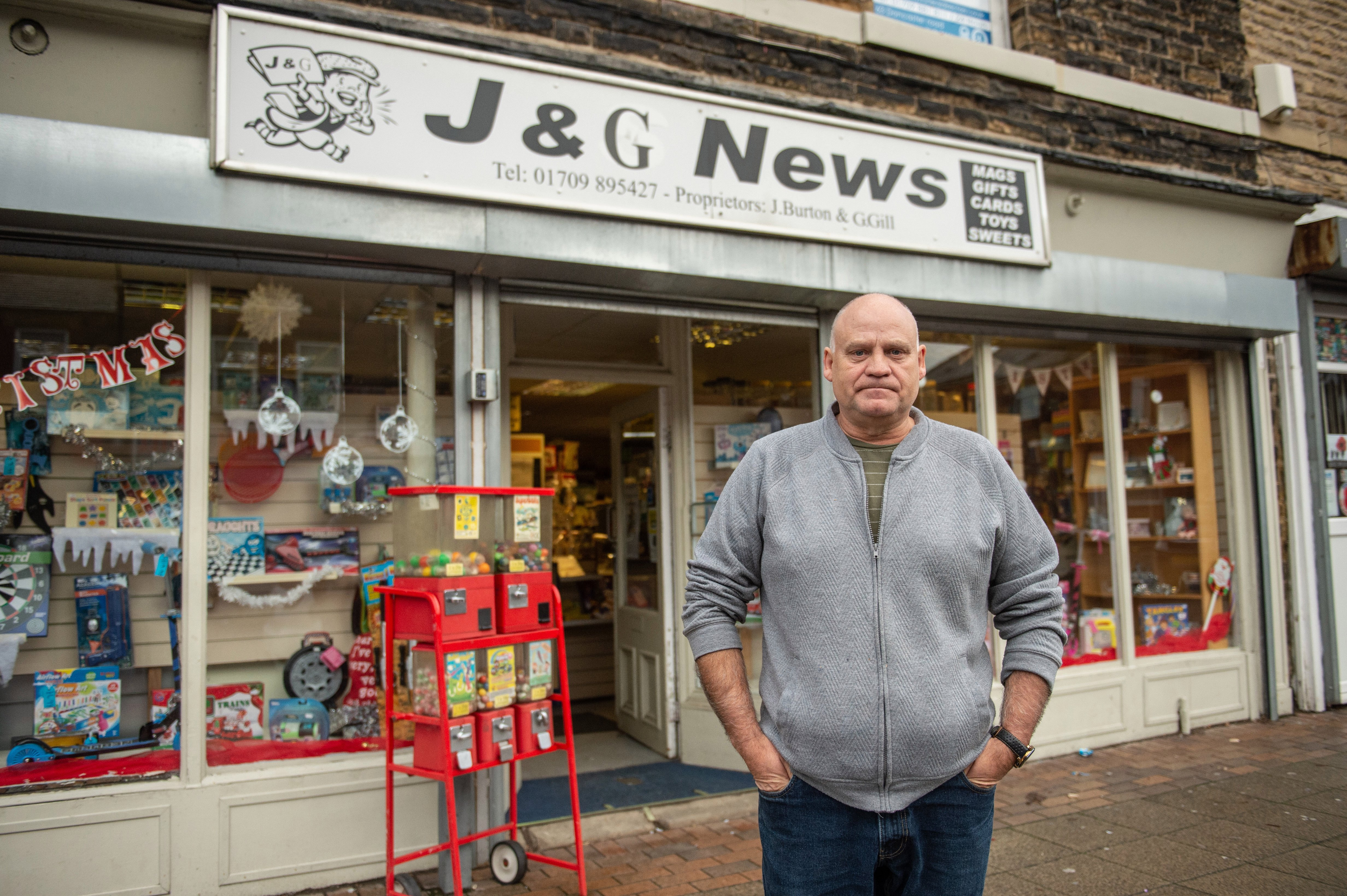 Former miner Graham Gill, 61, who runs Goldthorpe's J&G News convenience store, says: 'It used to be bustling around here but look at it now — a ghost town'