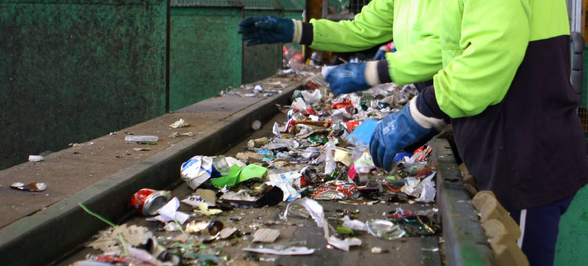 A recycling sorting line. Picture: File