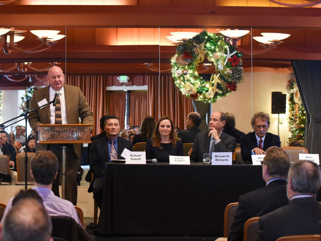 L to R: Niels Aalund, Propeller Club International, Danny Wan, Port of Oakland, Elaine Forbes, Port of San Francisco, Michael DiBernardo, Port of Los Angeles and Mario Cordero, Port of Long Beach. (Photo courtesy of George Verlaine)
