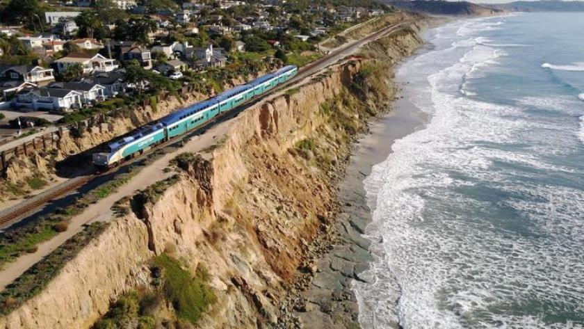 On the southern end of Del Mar, train tracks run precariously close to the edge of rapidly crumbling cliffs.