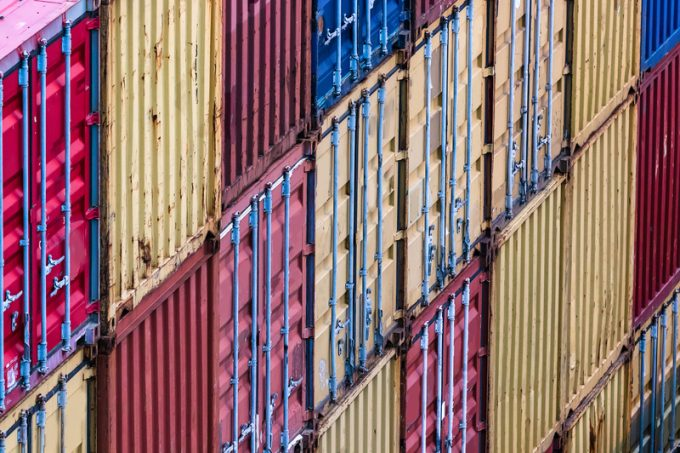 Group of shipping containers at the port, perspective view