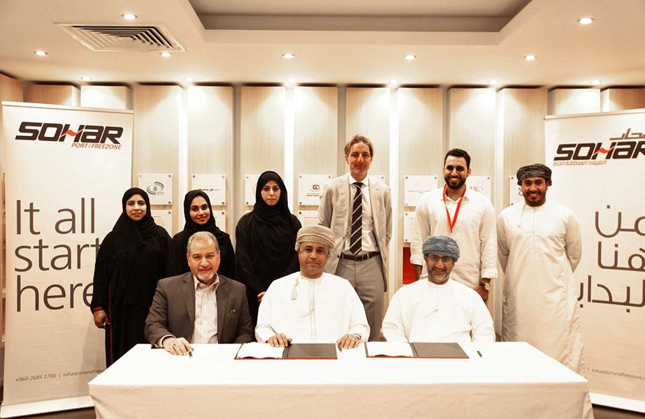 The agreement was signed by Omar Mahmood al Mahrizi, CEO of Sohar Freezone, and Dawood al Rajhi and Dr Sahib Jasim, partners at Matrix Prime Logistics