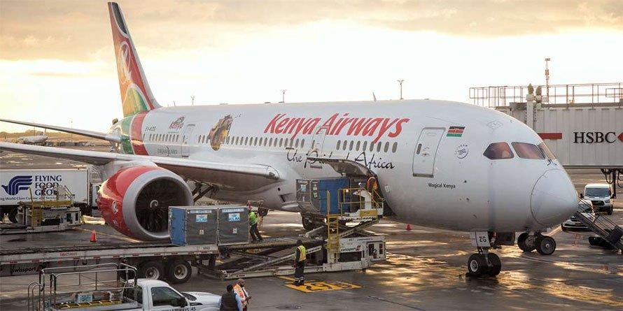 A Kenya Airways plane at JKIA. FILE PHOTO | NMG